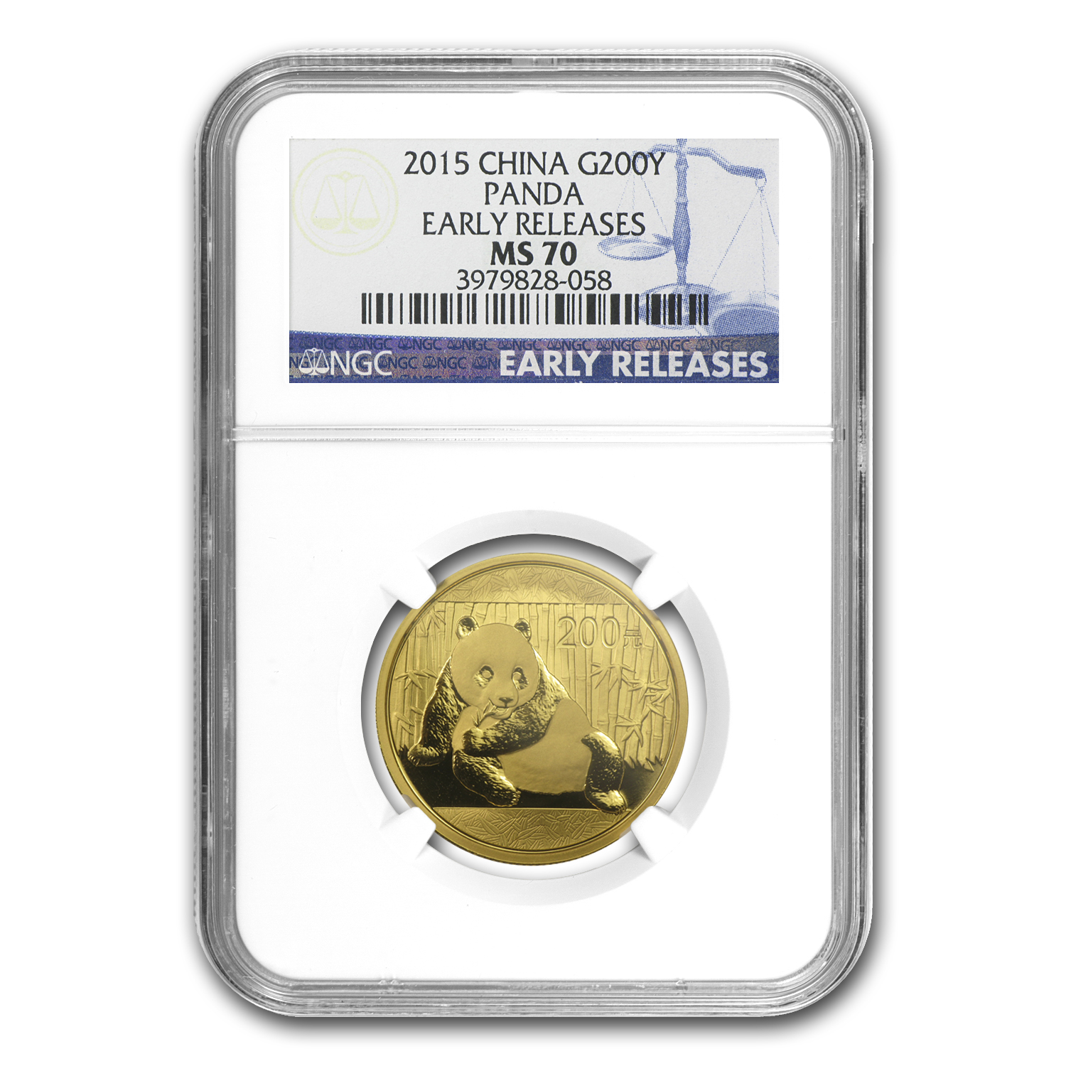 2015 China 1/2 oz Gold Panda MS-70 NGC (ER)