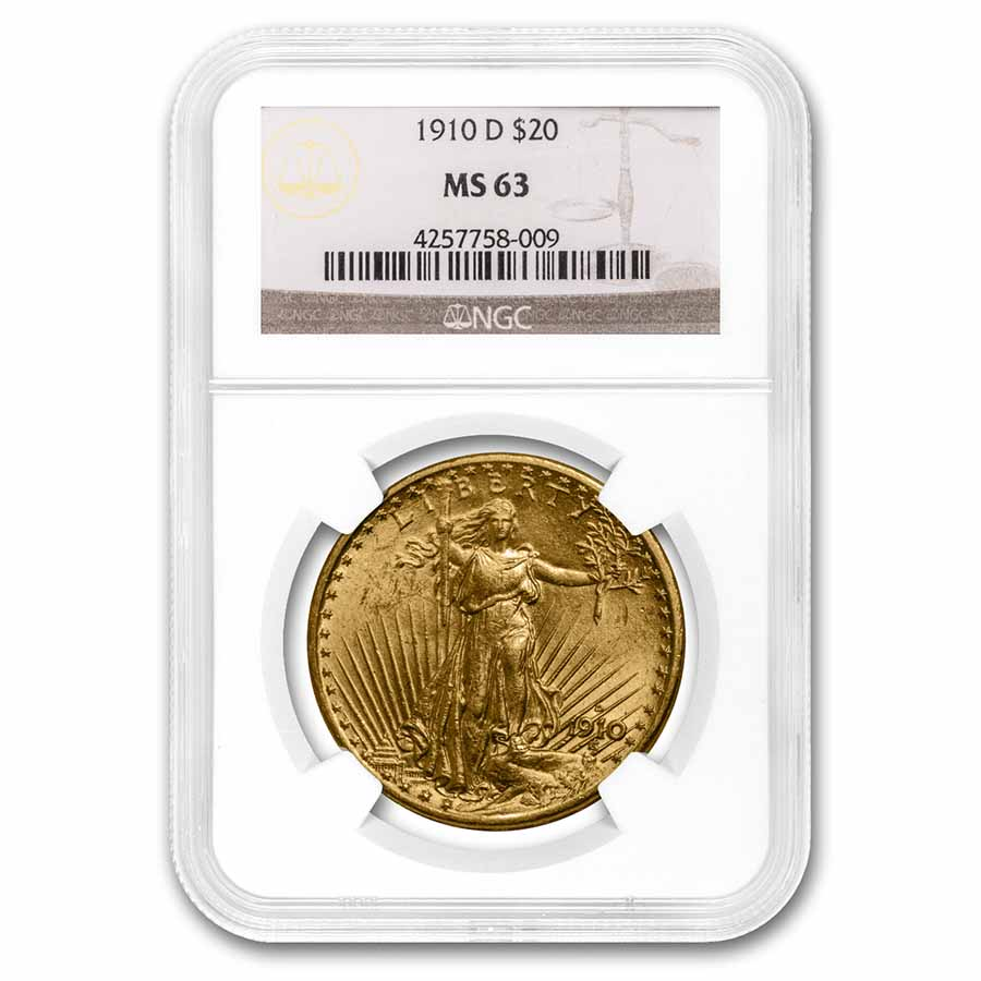 1910-D $20 St. Gaudens Gold Double Eagle MS-63 NGC
