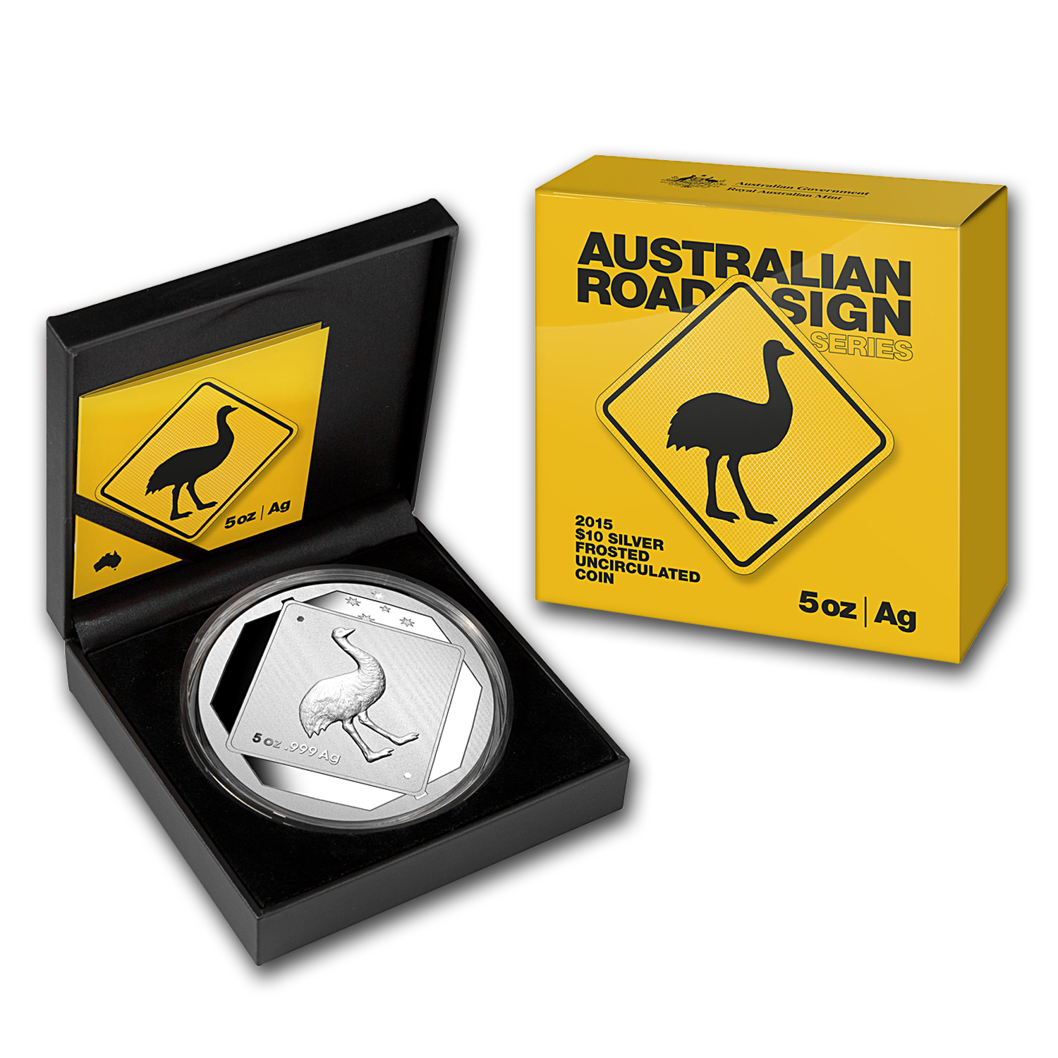 2015 Australia 5 oz Silver Emu Road Sign
