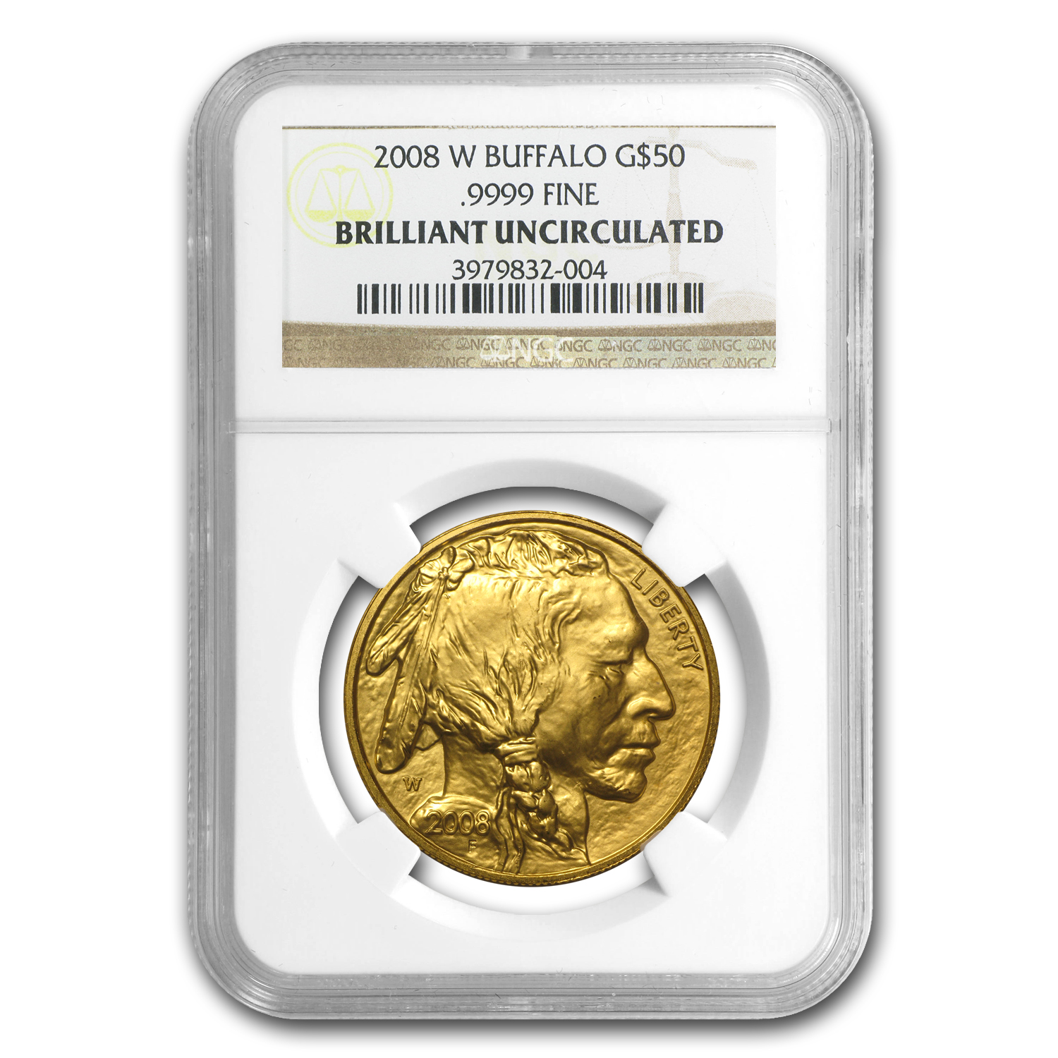 2008-W 1 oz Gold Buffalo Brilliant Uncirculated NGC