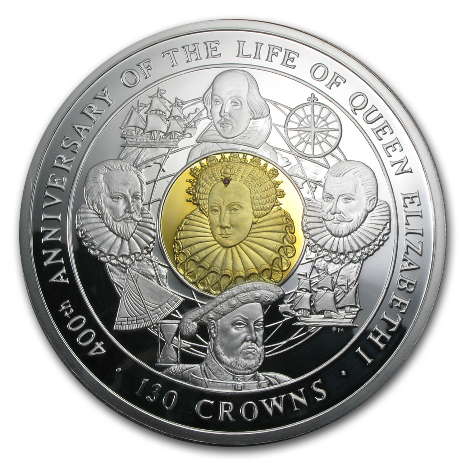 2003 Isle of Man 4 Kilo Silver Queen Elizabeth I Coin