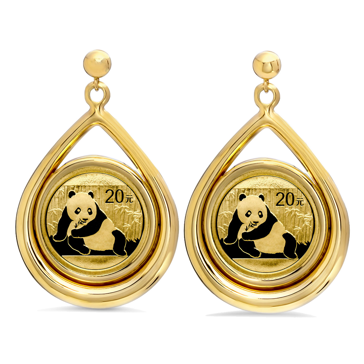 2015 1/20 oz Gold Panda Tear Drop Dangle Coin Earrings