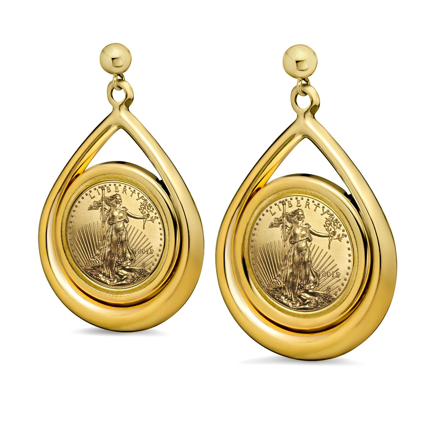 2015 1/10 oz Gold Eagle Tear Drop Dangle Coin Earrings