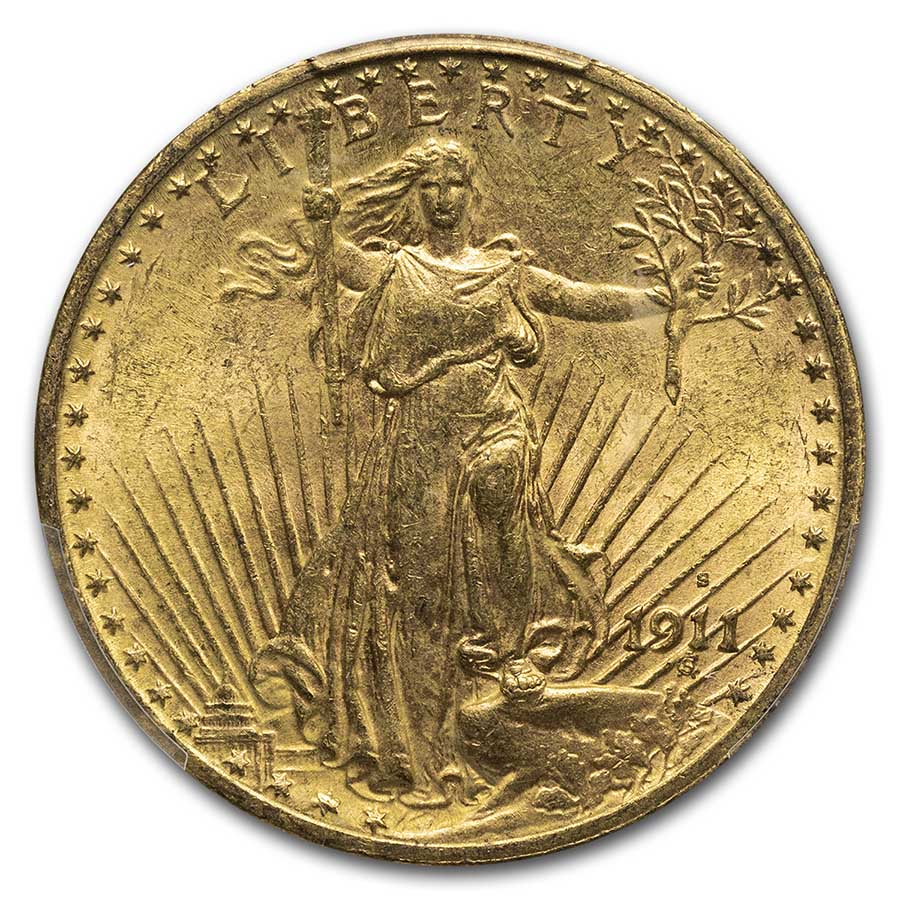 1911-S $20 St. Gaudens Gold Double Eagle MS-63 PCGS