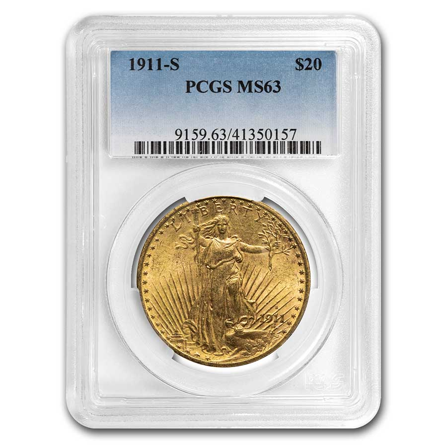 1911-S $20 St. Gaudens Gold Double Eagle - MS-63 PCGS