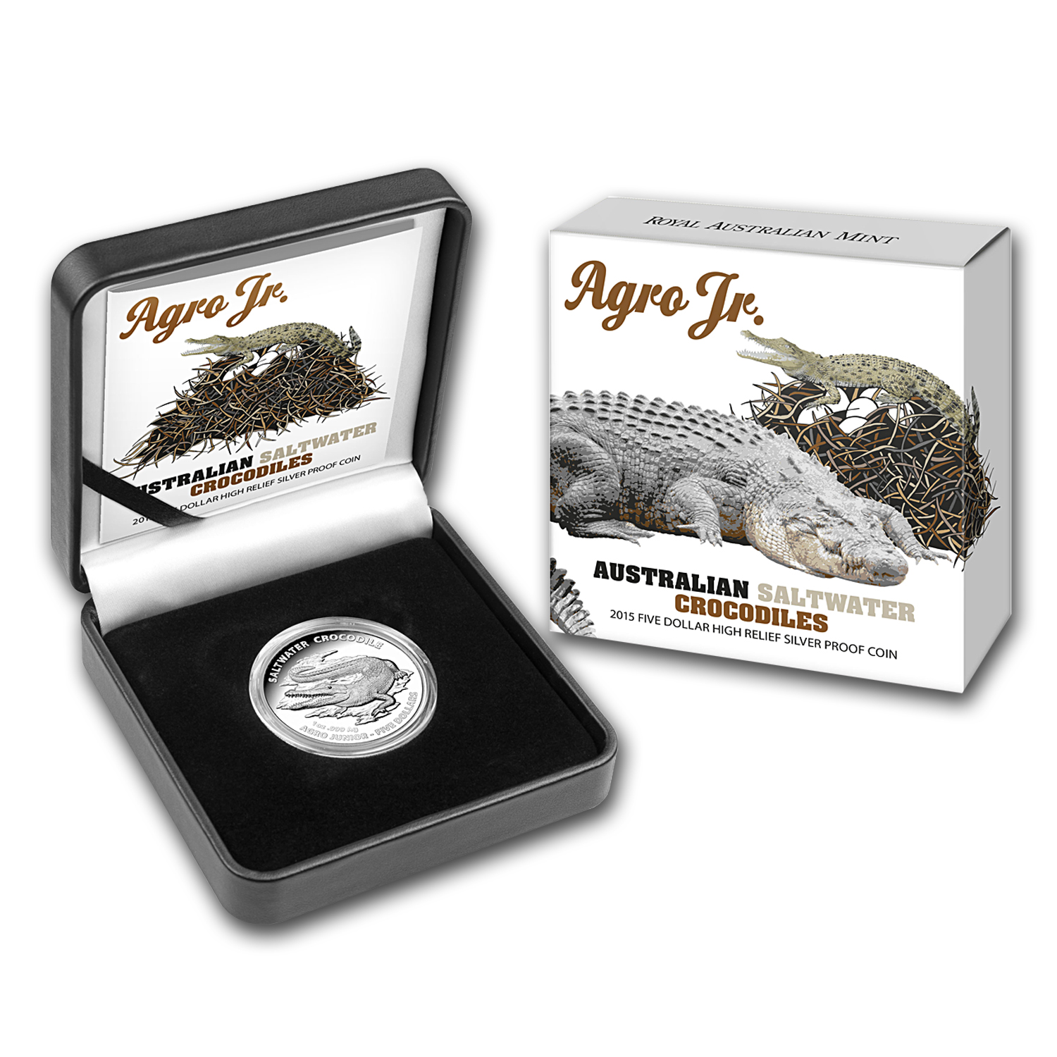 2015 Australia 1 oz Silver High Relief Salt Water Croc (Agro)