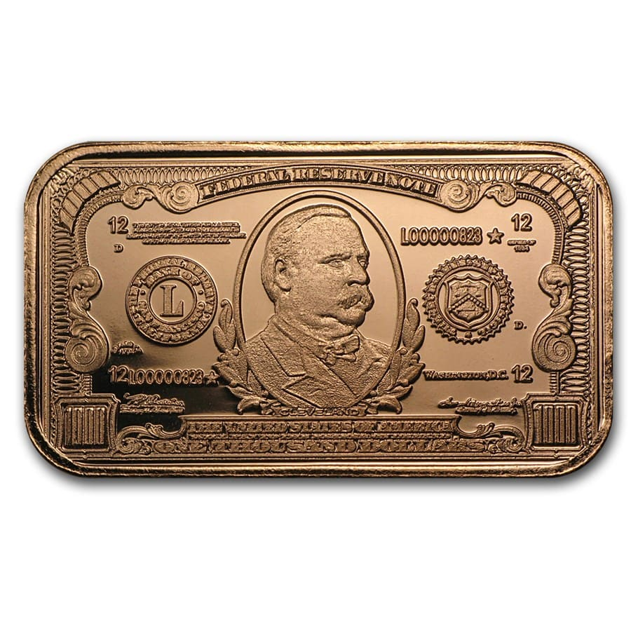 1 oz Copper Bar - $1000 Grover Cleveland Banknote