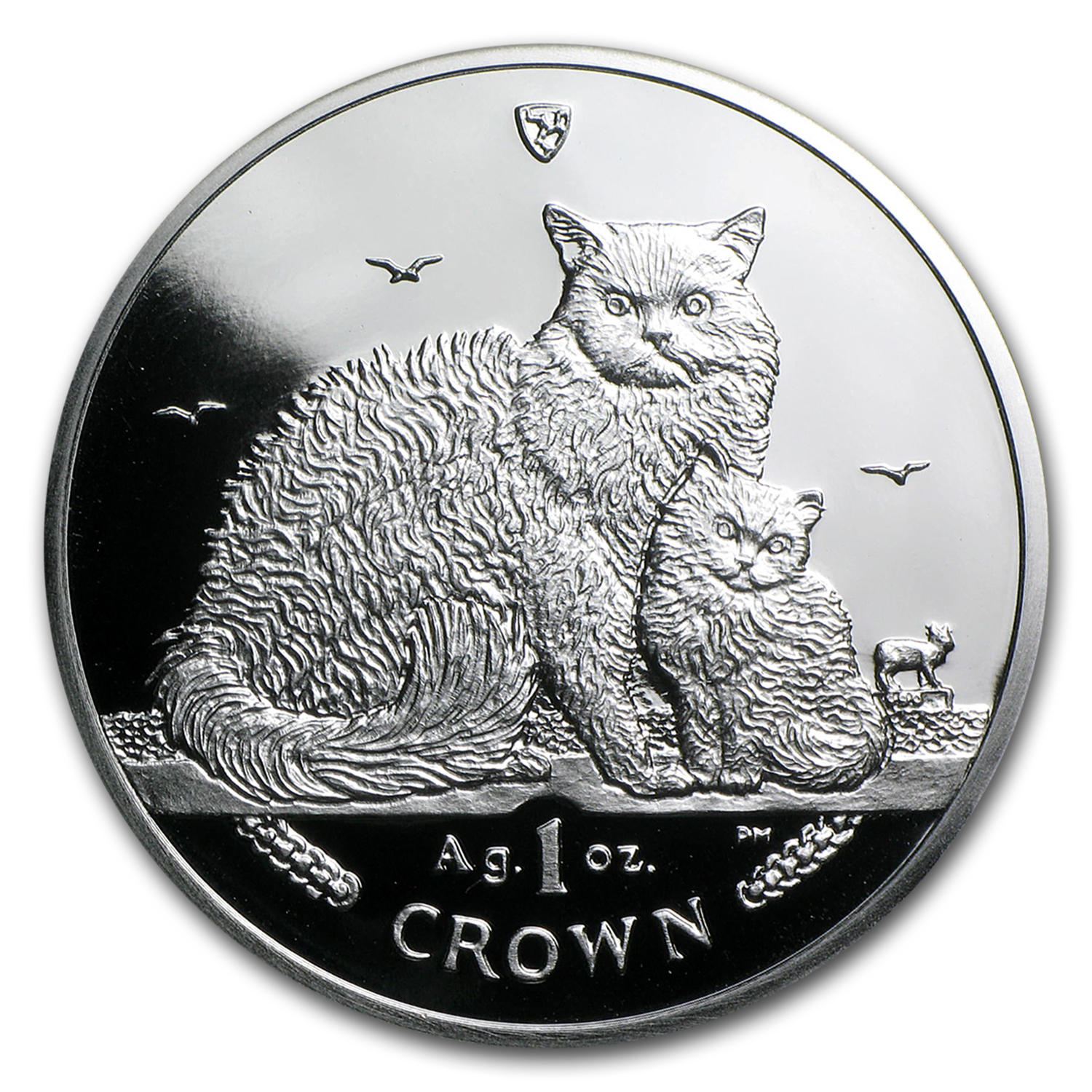 2015 Isle of Man Silver 1 Crown Selkirk Rex Cat Proof
