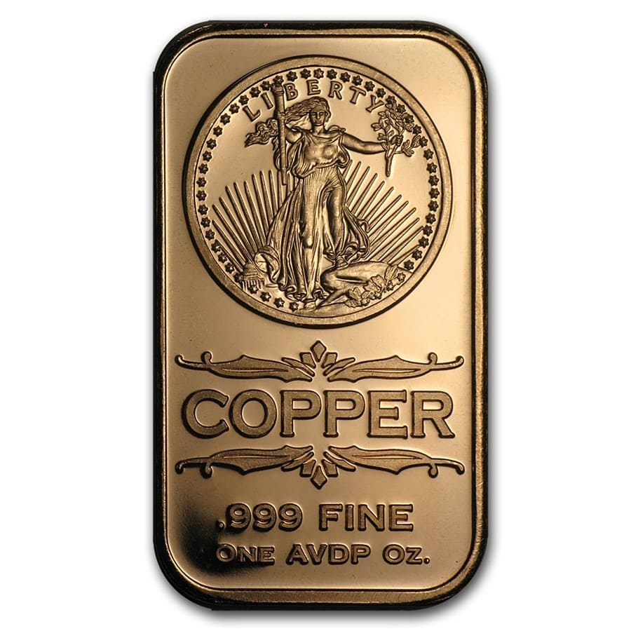1 Oz Copper Bar Front Walking Liberty Osborne Mint