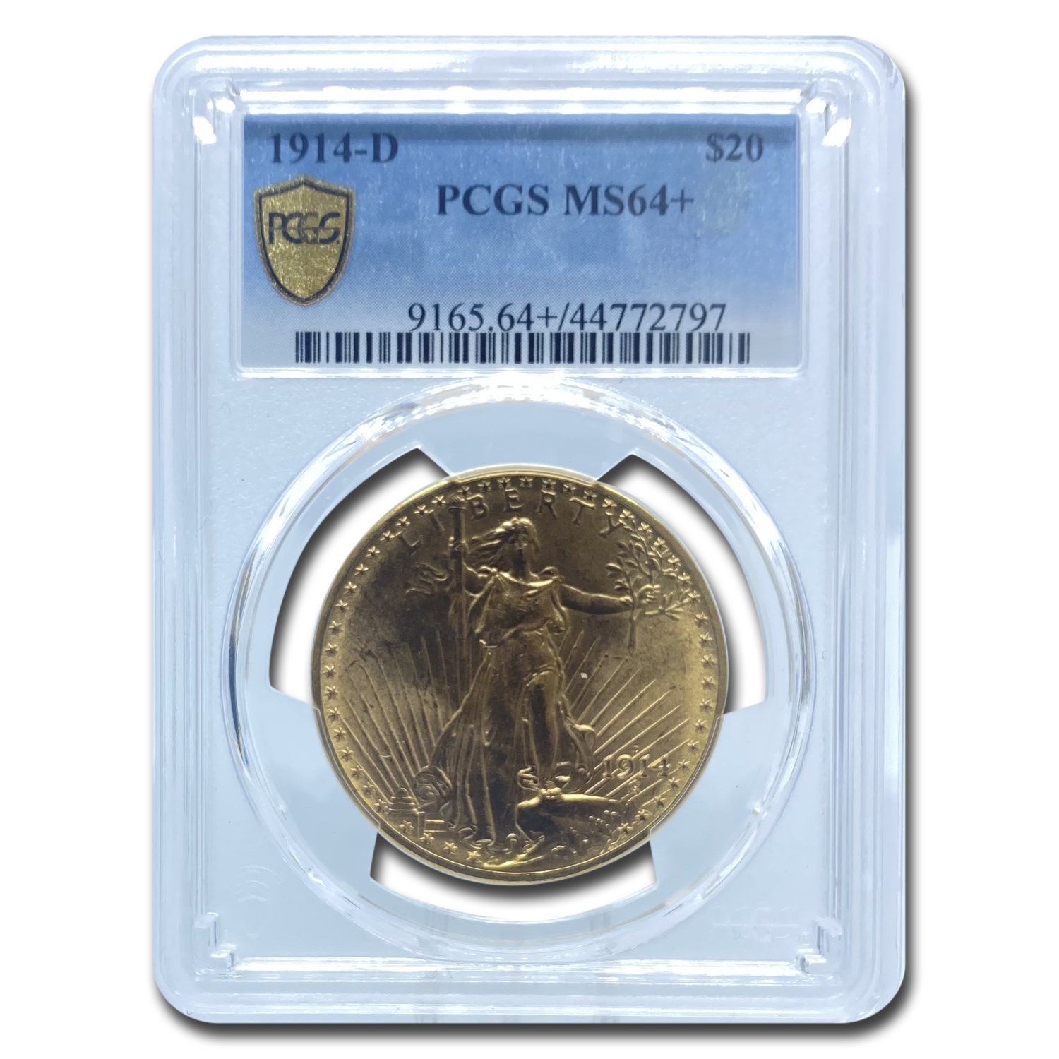 1914-D $20 St. Gaudens Gold Double Eagle MS-64+ PCGS