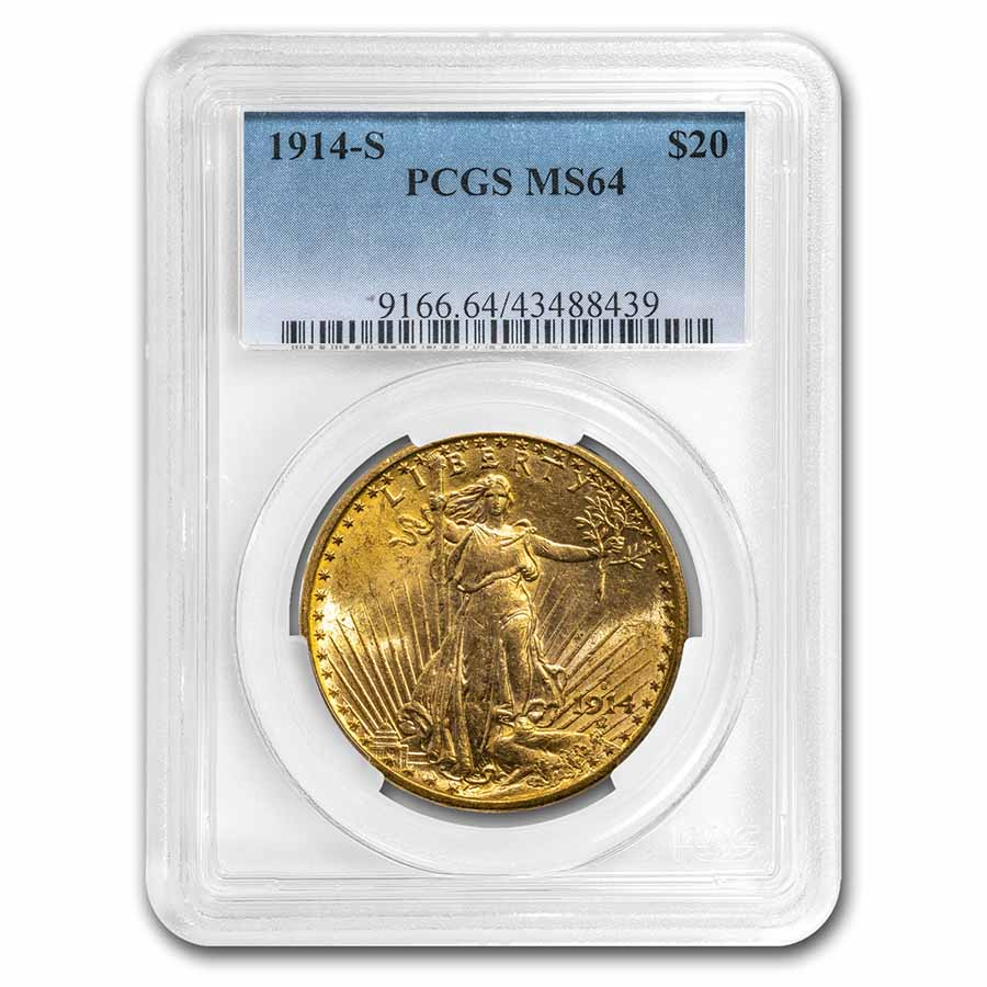 1914-S $20 St. Gaudens Gold Double Eagle MS-64 PCGS