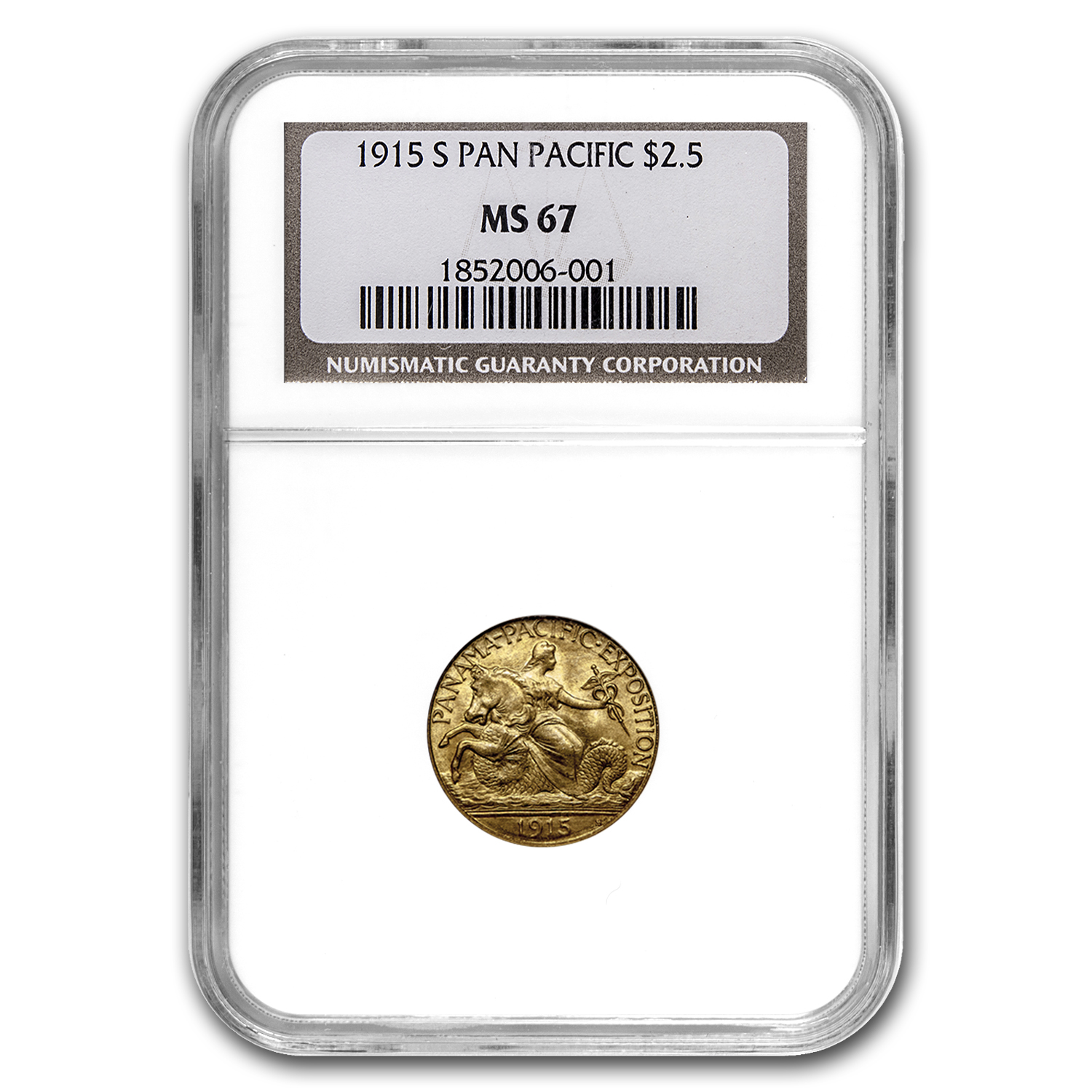 1915-S Gold $2.50 Panama-Pacific MS-67 NGC (Finest Known)