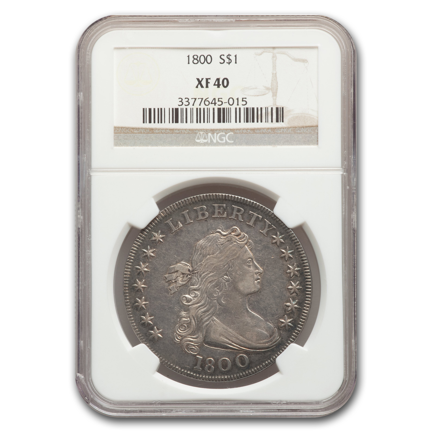 1800 Draped Bust Dollar XF-40 NGC