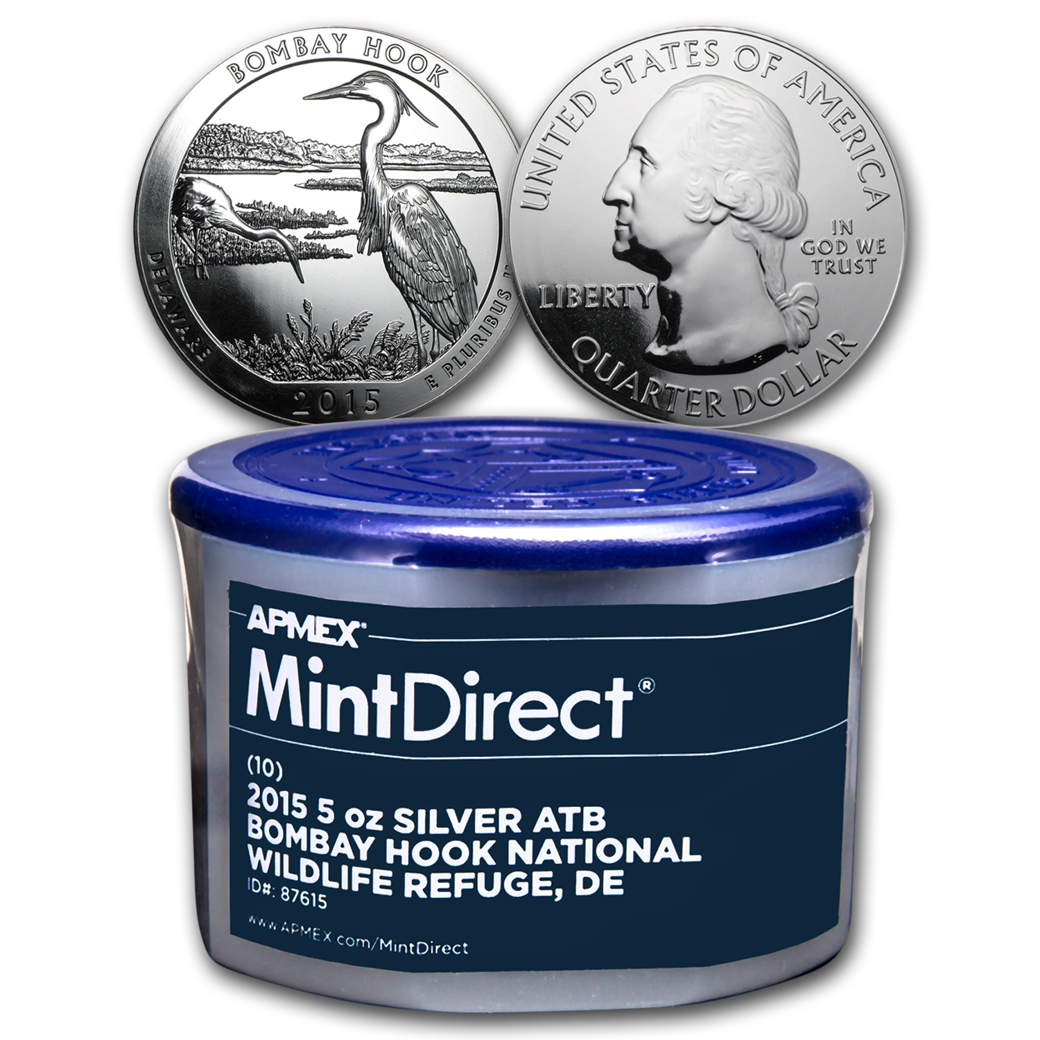 2015 5 oz Silver ATB Bombay Hook (10-Coin MintDirect® Tube)