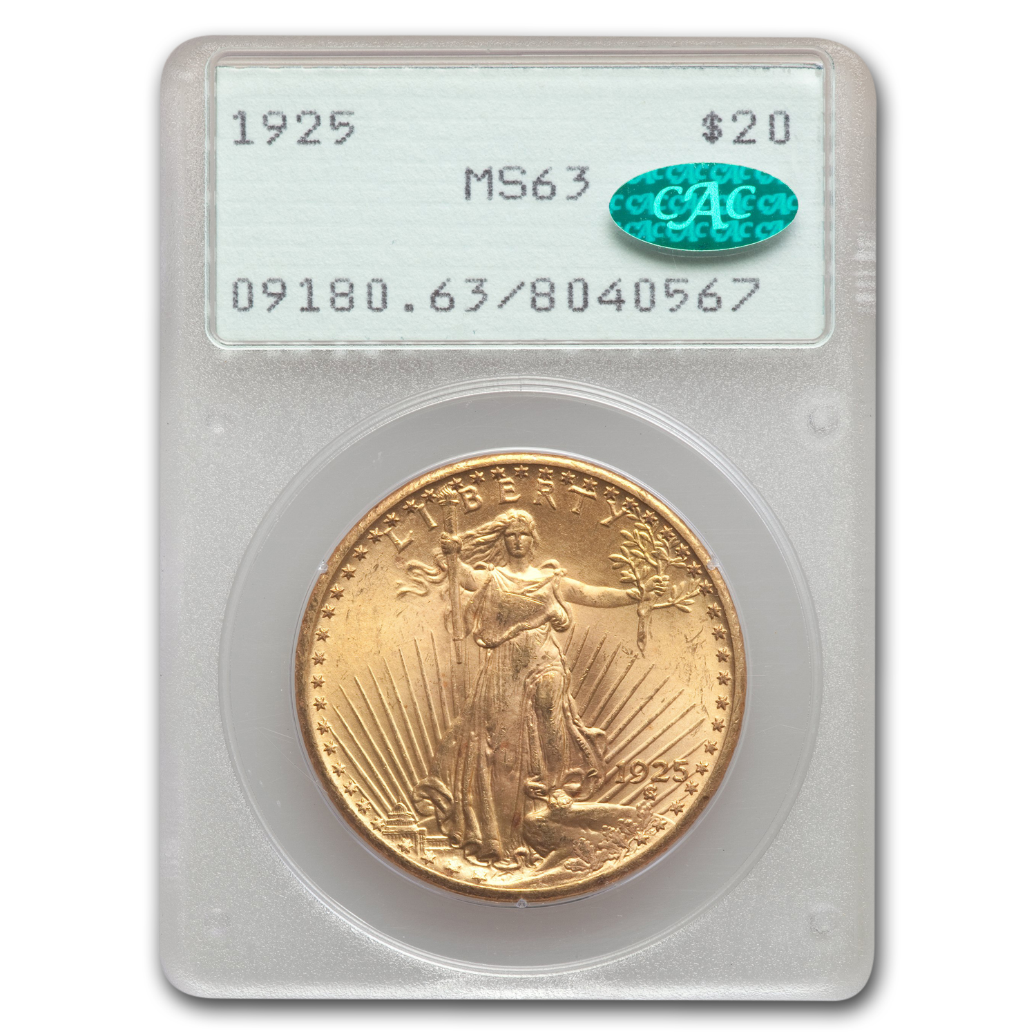 1925 $20 St. Gaudens Gold Double Eagle MS-63 PCGS (OGH, GOLD CAC)