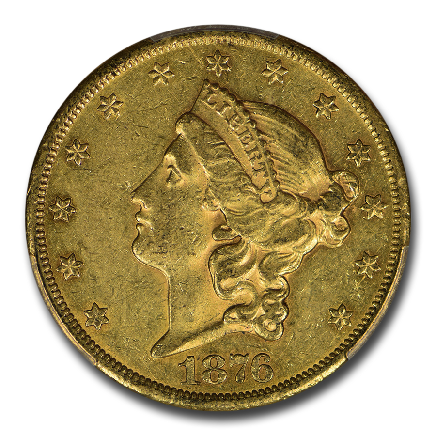 1876-CC $20 Liberty Gold Double Eagle AU-55 PCGS