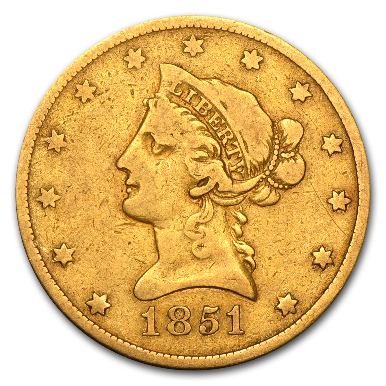 1851-O $10 Liberty Gold Eagle Fine