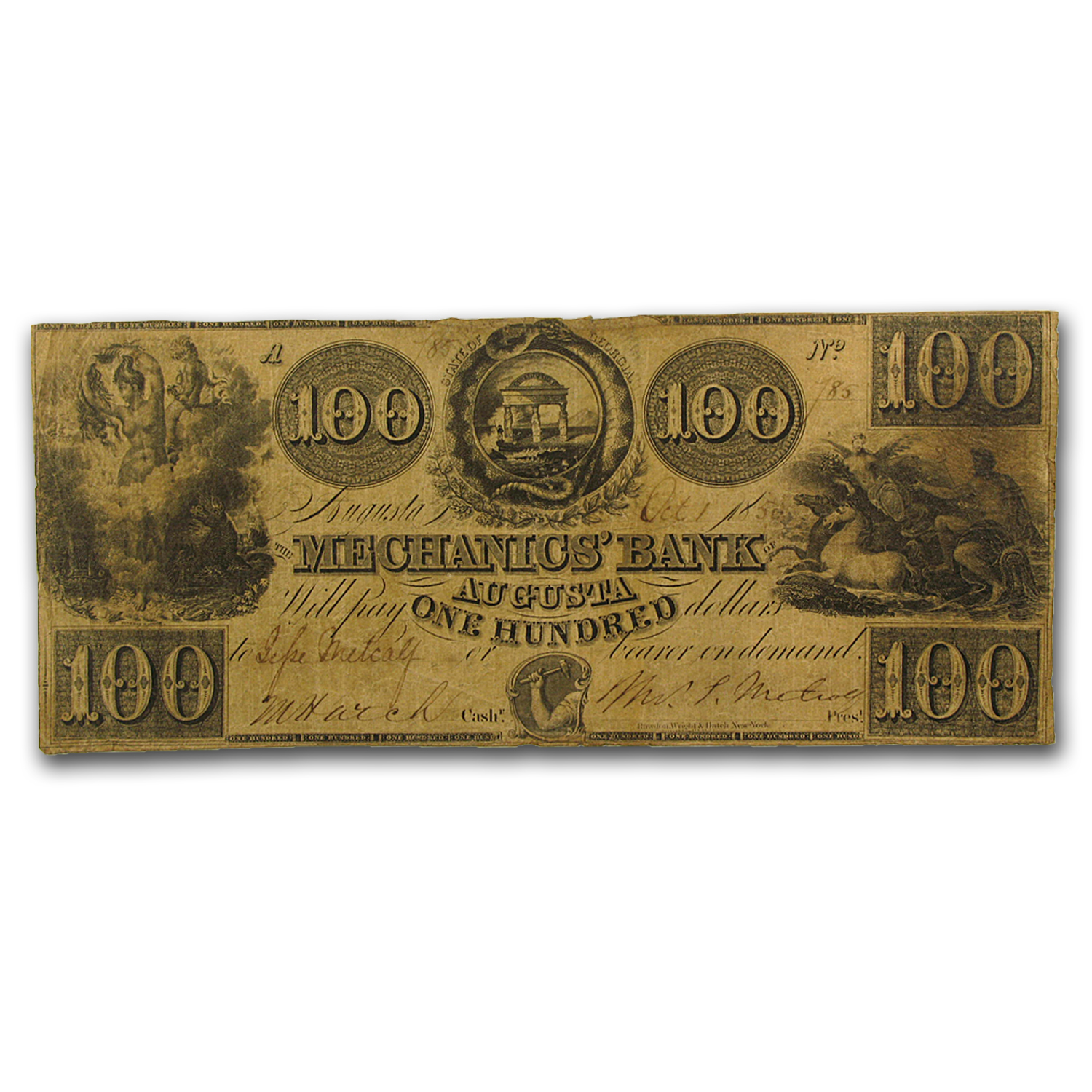 1856 The Mechanics Bank of Augusta, GA $100 Fine