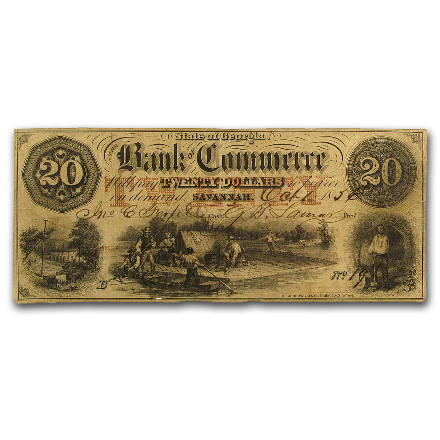 1856 Bank of Commerce, Savannah, GA $20 VF