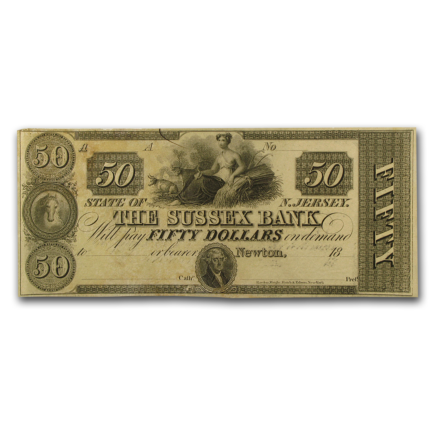 18__ Sussex Bank of Newton, New Jersey $50 AU