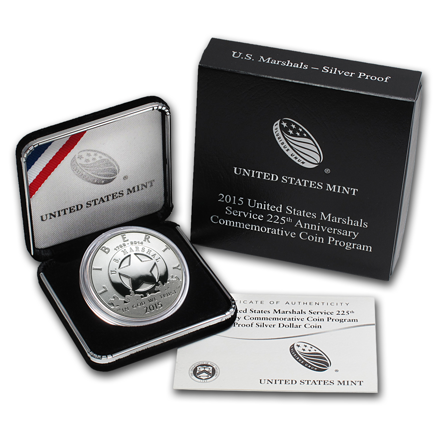 2015-P U.S. Marshals Service $1 Silver Commem Proof (w/Box & COA)