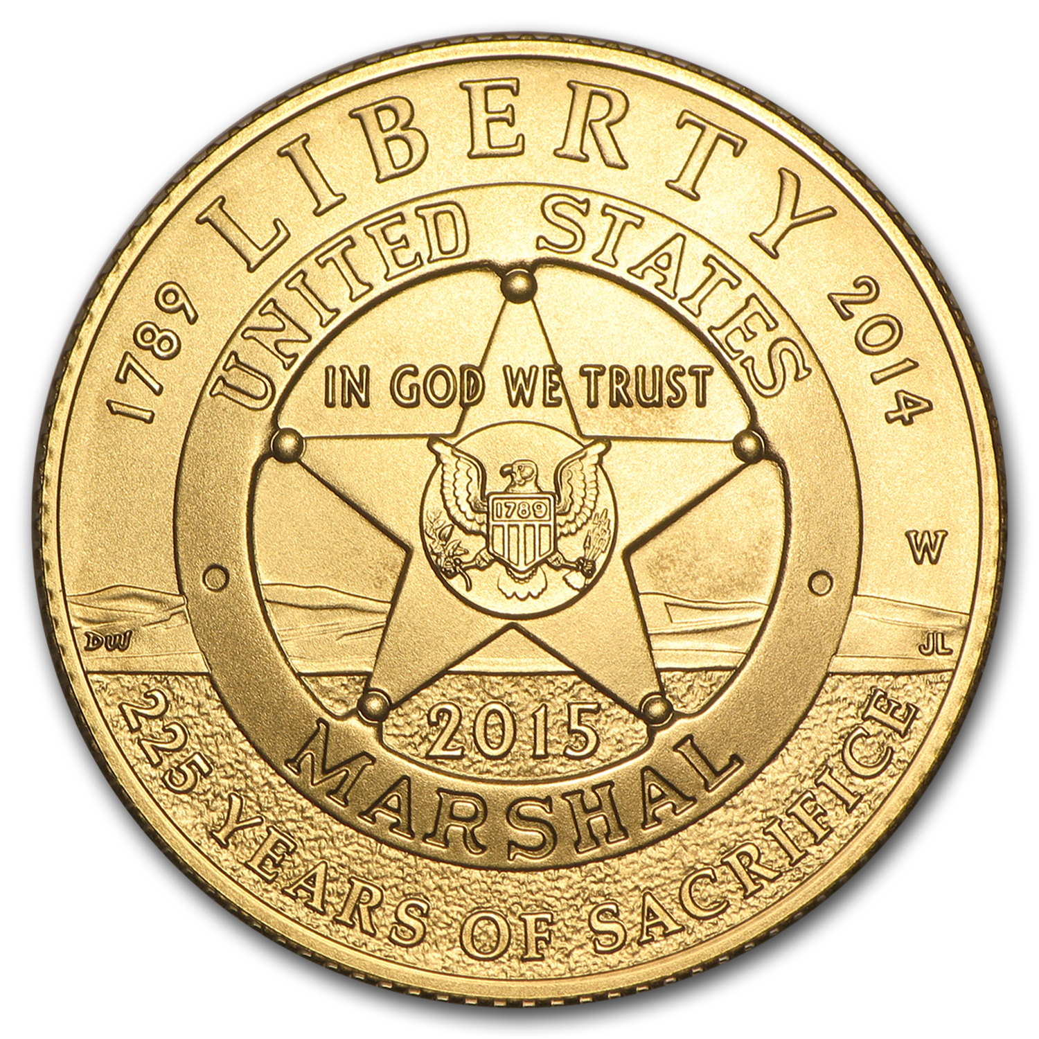 2015-W Gold $5 Commem U.S. Marshals Service BU (w/Box & COA)