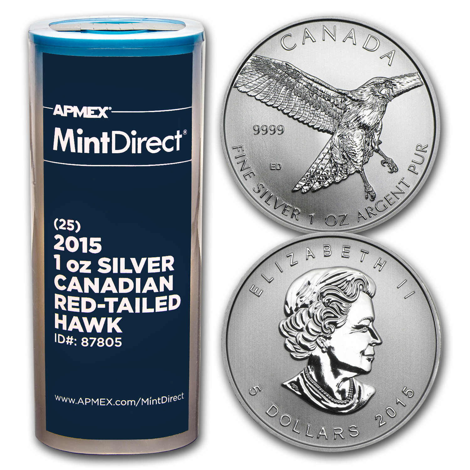 2015 RCM 1 oz Silver Red Tailed Hawk (25-Coin MintDirect® Tube)