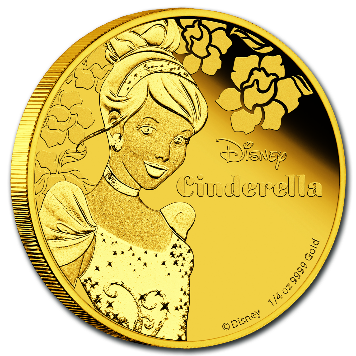 2015 Niue 1/4 oz Proof Gold $25 Disney Princess Cinderella