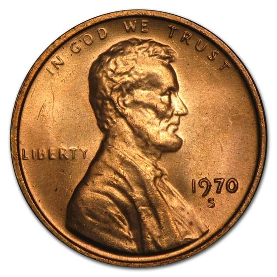 1970 S Lincoln Cent Small Date Bu Lincoln Memorial Cents