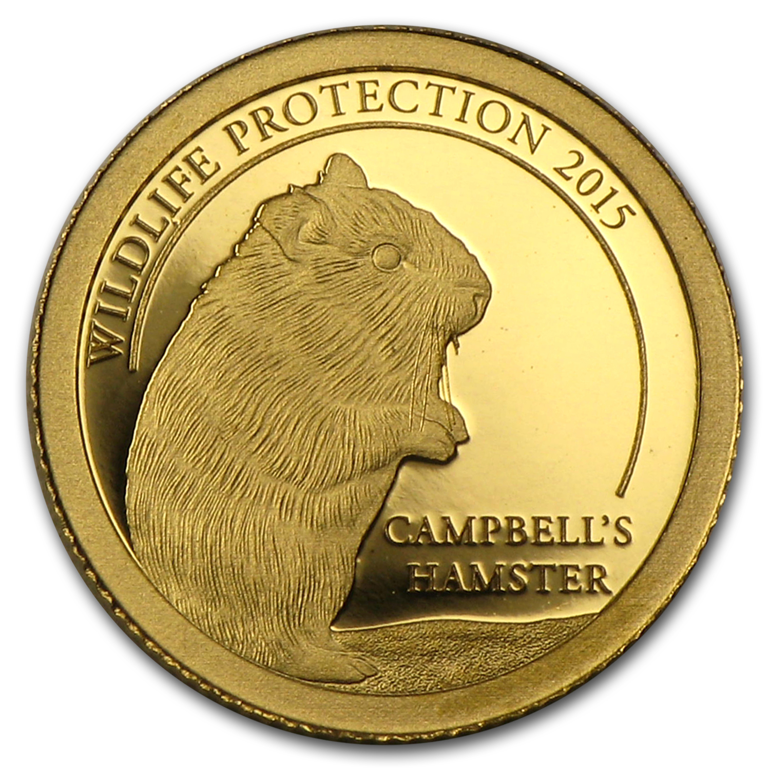 2015 Mongolia 1/2 gram Proof Gold 500 Togrog Wildlife Hamster