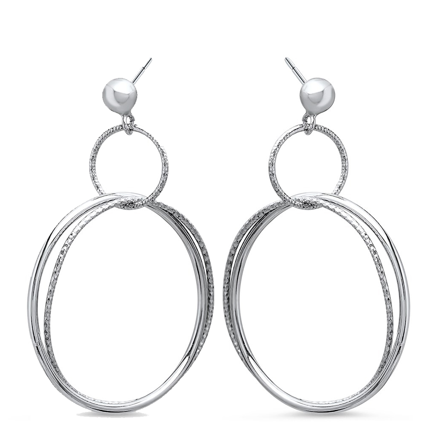 Sterling Silver Polished & Textured Dangle Hoop Earrings