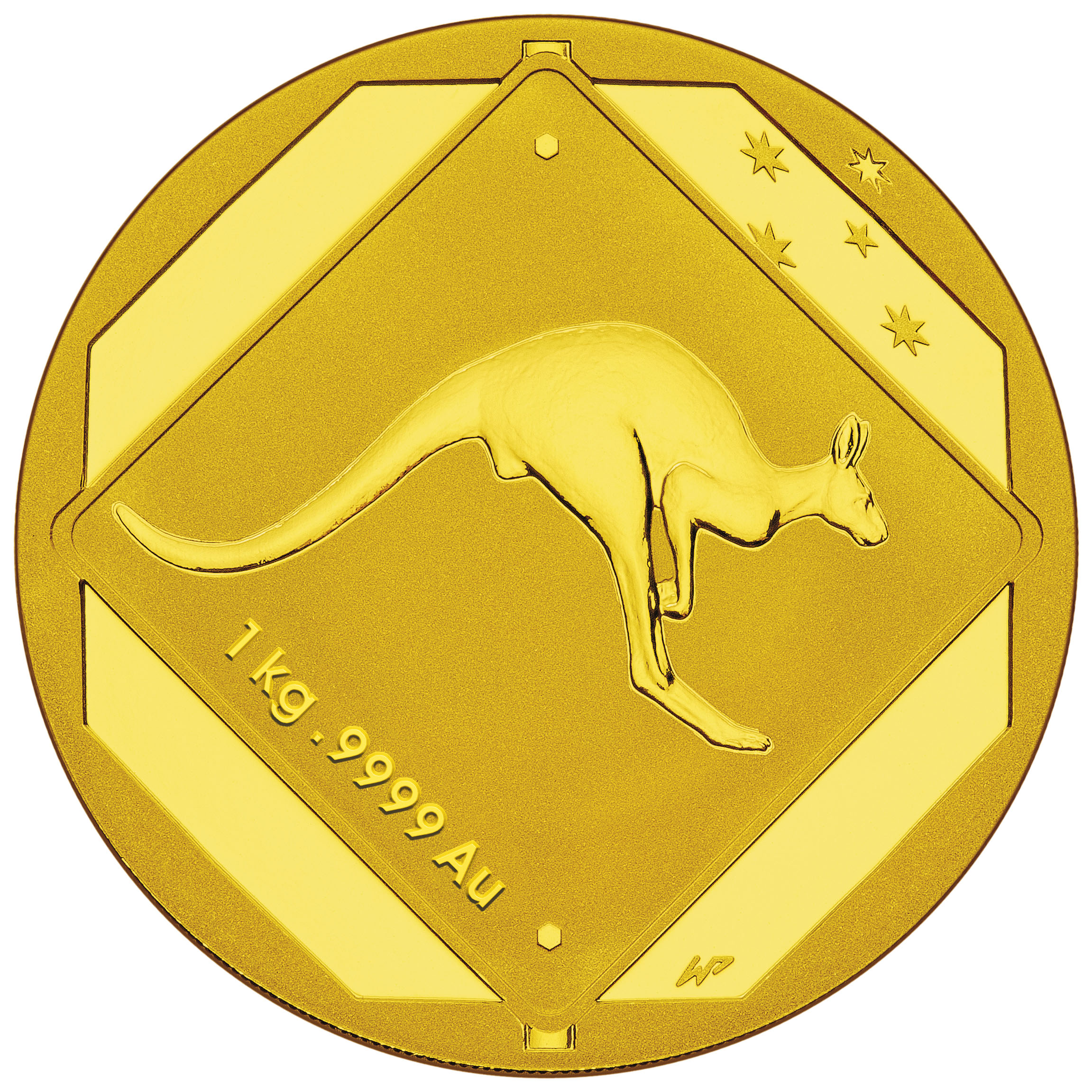 2013 Australia 1 kilo Gold $3000 Kangaroo Road Sign BU