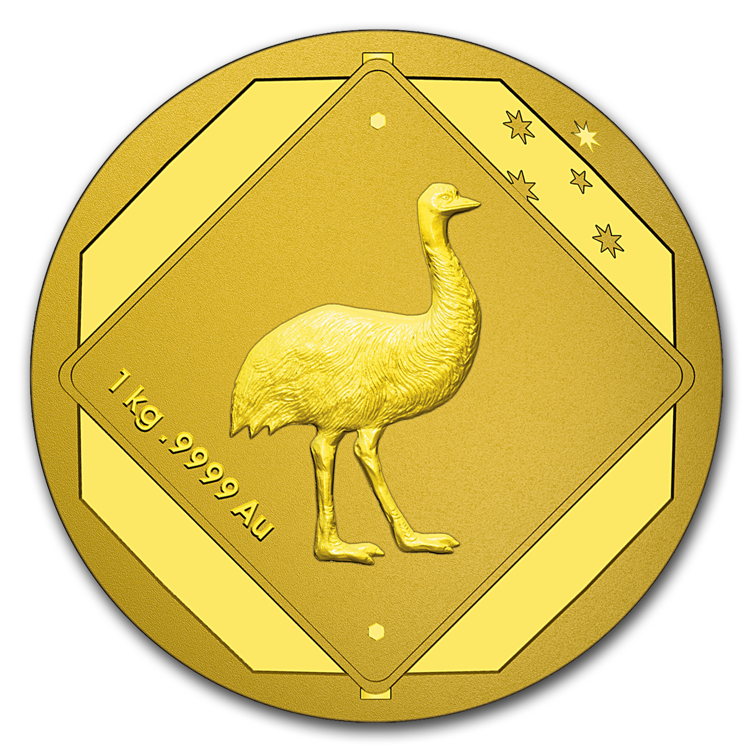 2015 Australia kilo Gold $3000 Emu Road Sign BU