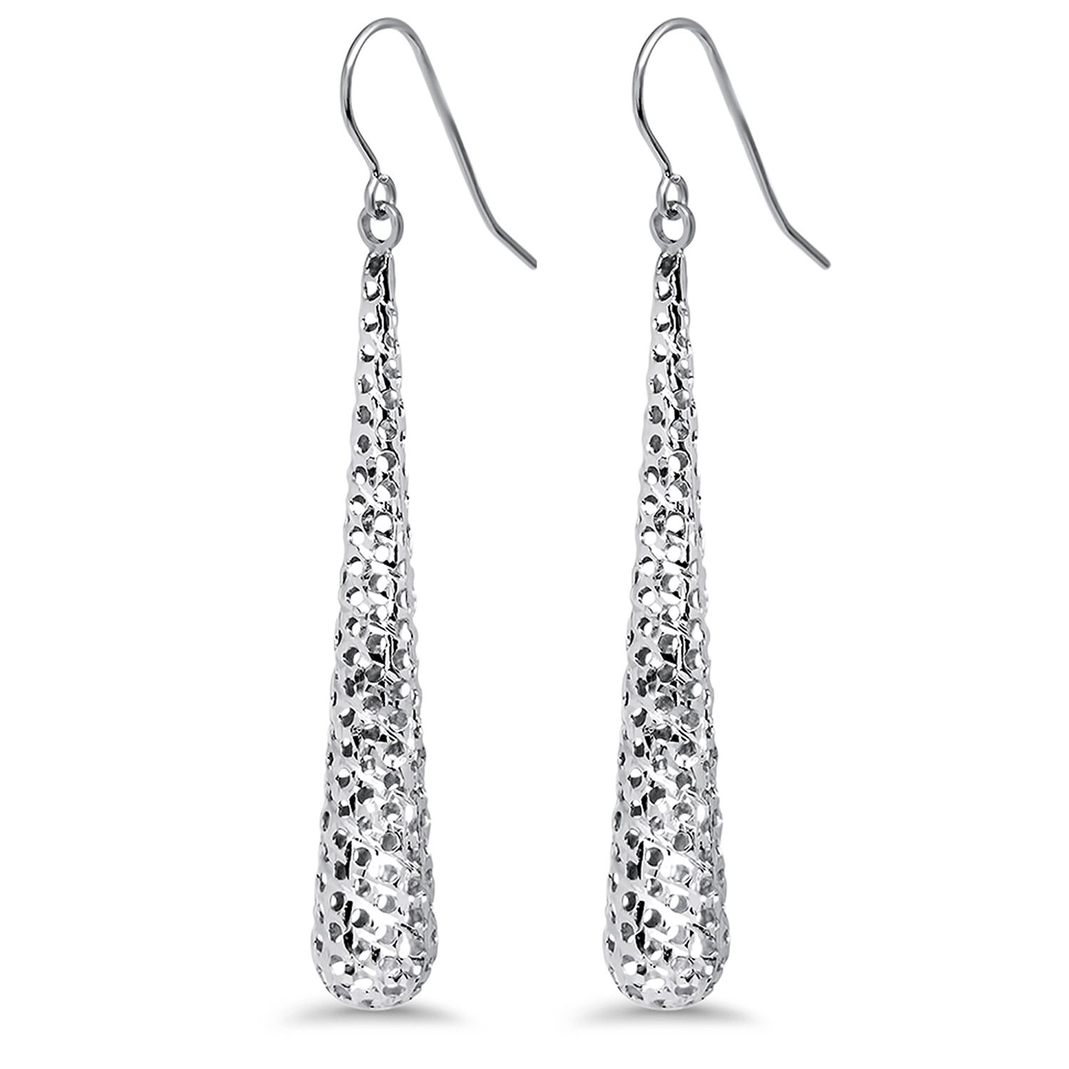 14k White Gold Textured Dangle Earrings