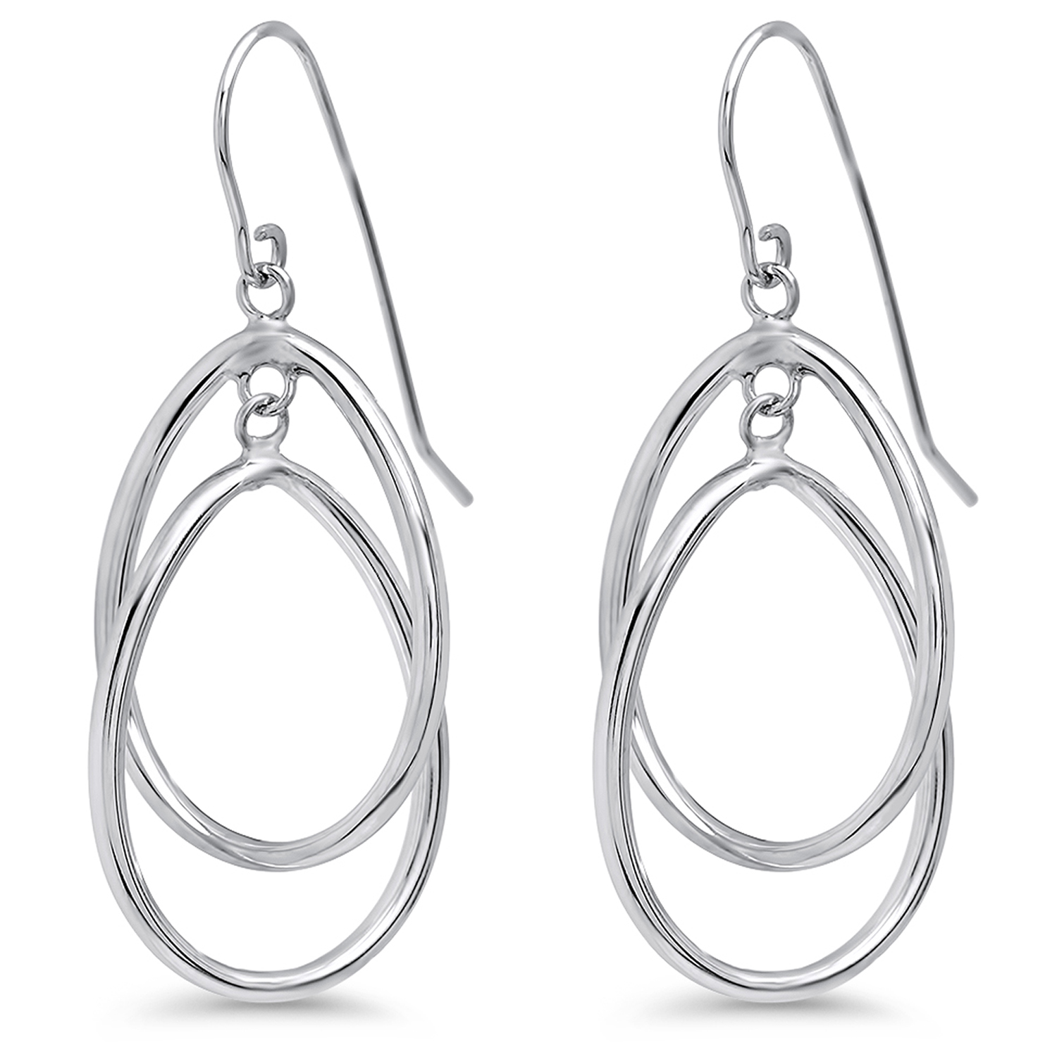 14k White Gold Double Circle Dangle Wire Earrings
