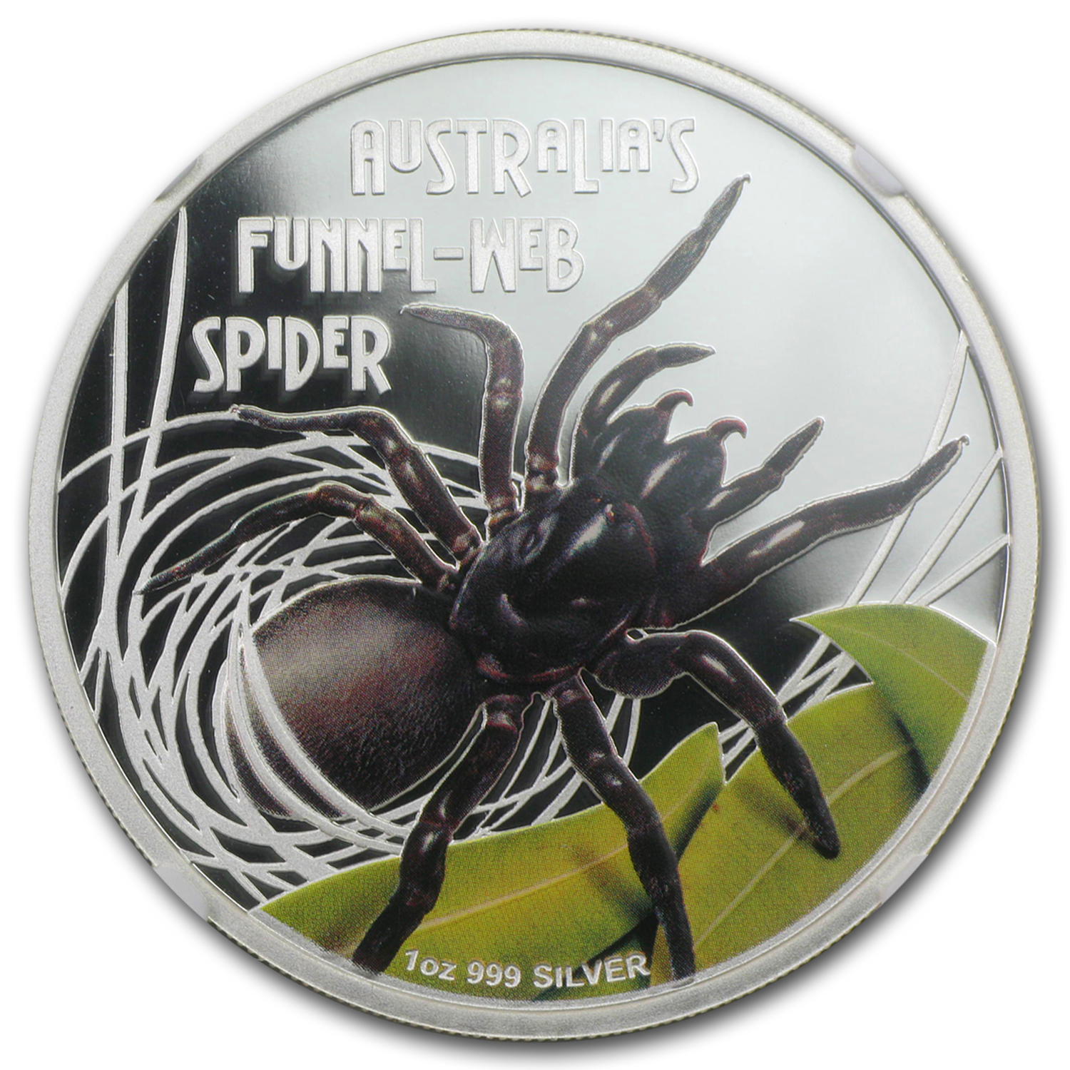 2012 Tuvalu 1 oz Silver Funnel-Web Spider PF-70 NGC (Colorized)