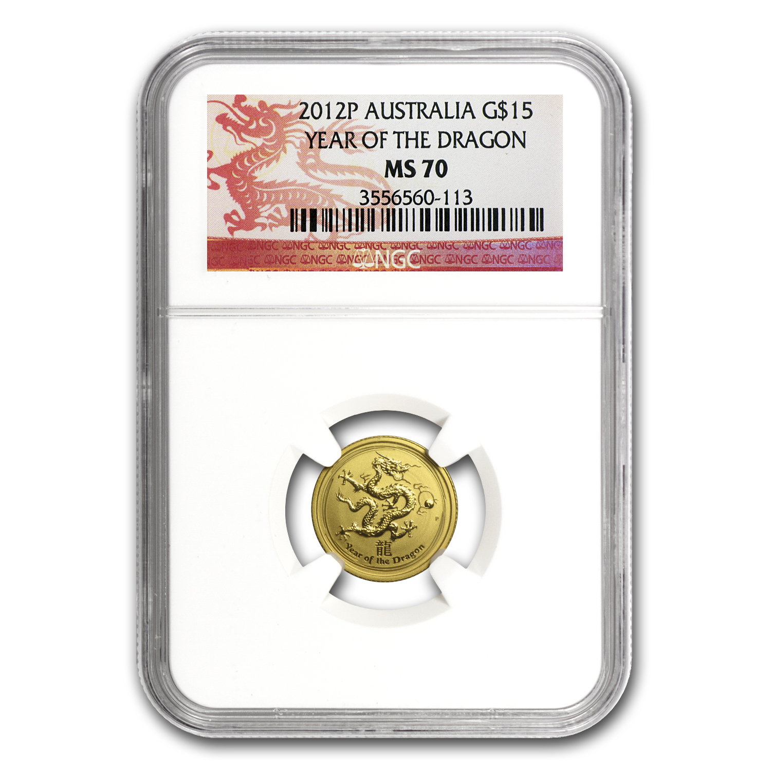 2012 1/10 oz Gold Lunar Year of the Dragon MS-70 NGC (Series II)