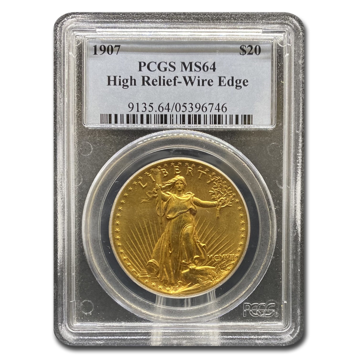 1907 $20 St. Gaudens Gold High Relief Wire Edge MS-64 PCGS