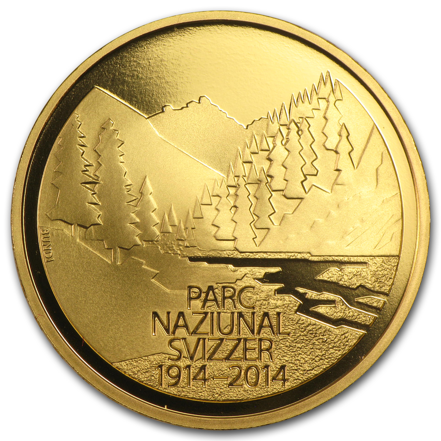 2014 Switzerland Proof Gold 50 CHF Swiss National Park