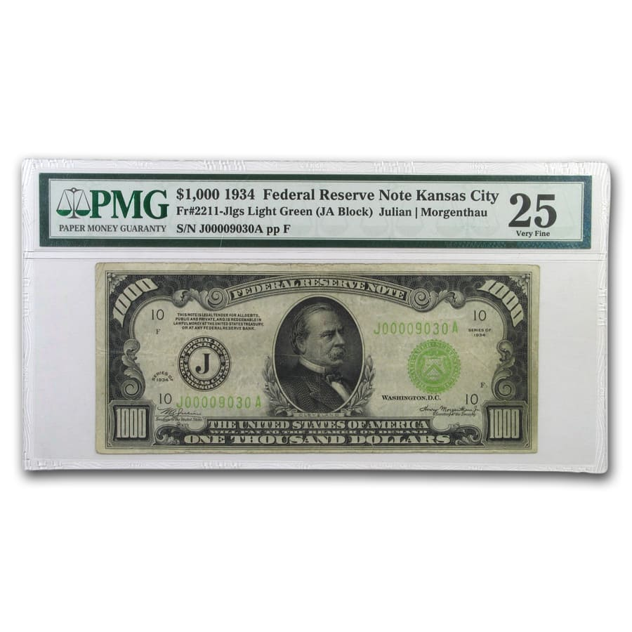 1934 (J-Kansas City) $1,000 FRN VF-25 PMG (LGS)