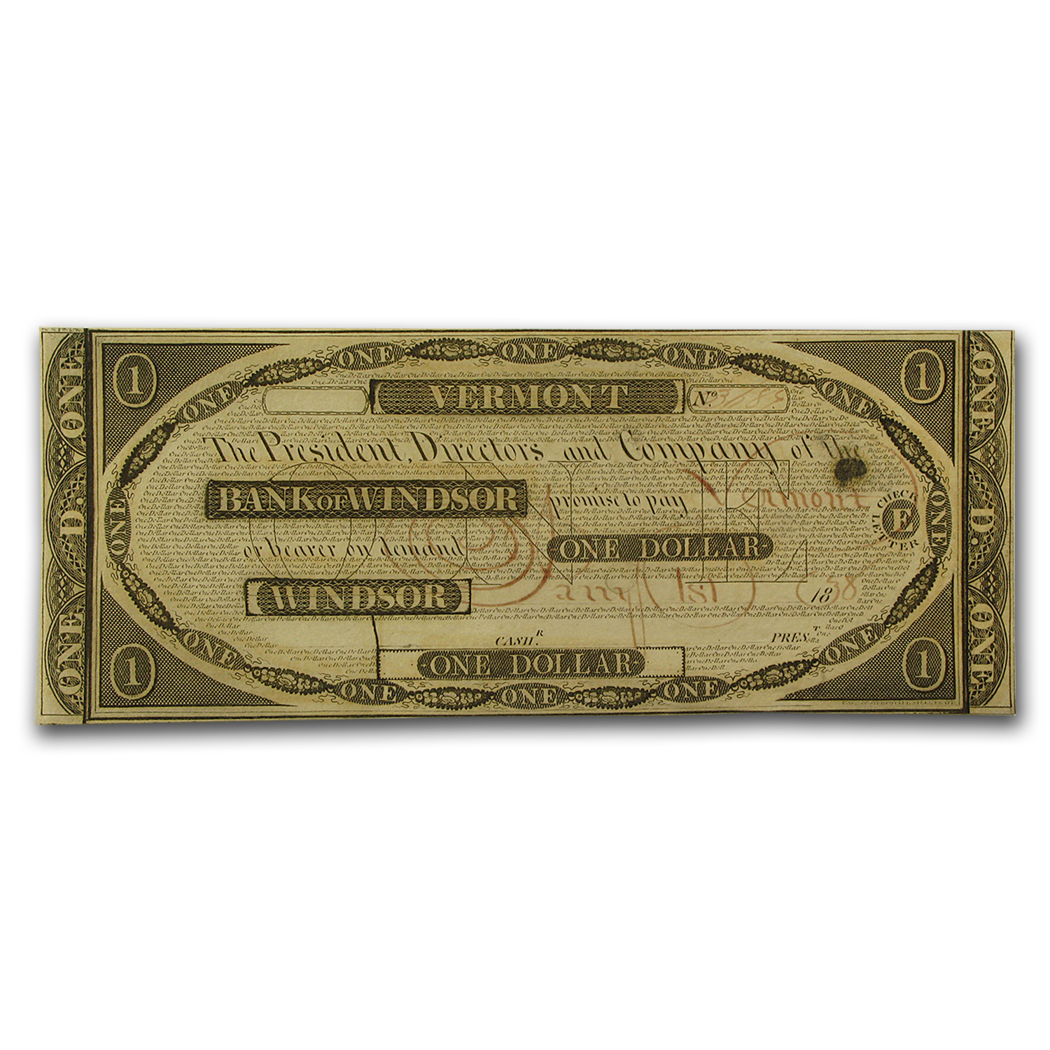 1838 Bank of Windsor, VT $1.00 Note CU