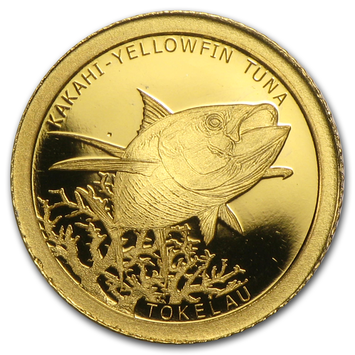 2015 Tokelau 1/2 gram Proof Gold $5 Kakahi Yellowfish Tuna