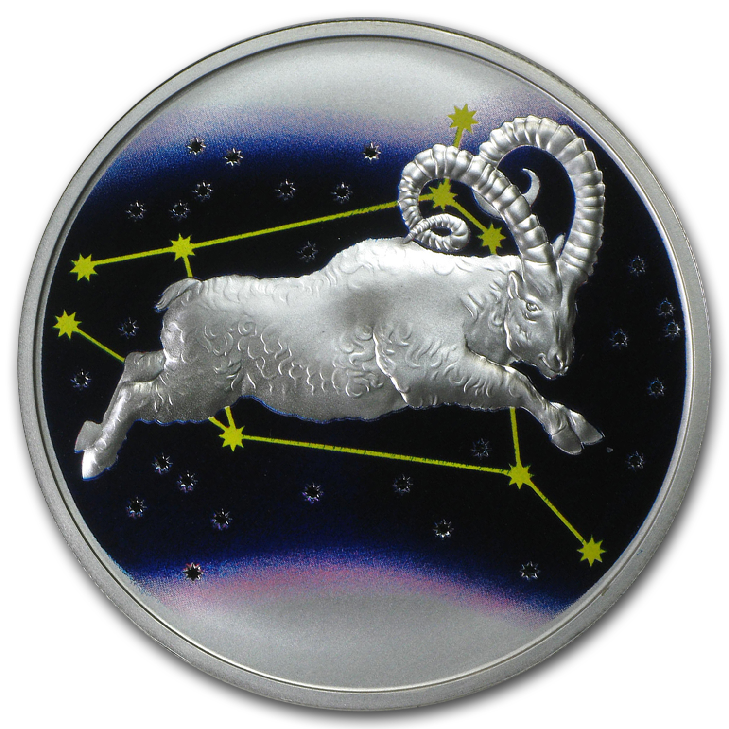 2015 Tokelau 1 oz Silver $5 Aries, the Ram Proof (Colorized)