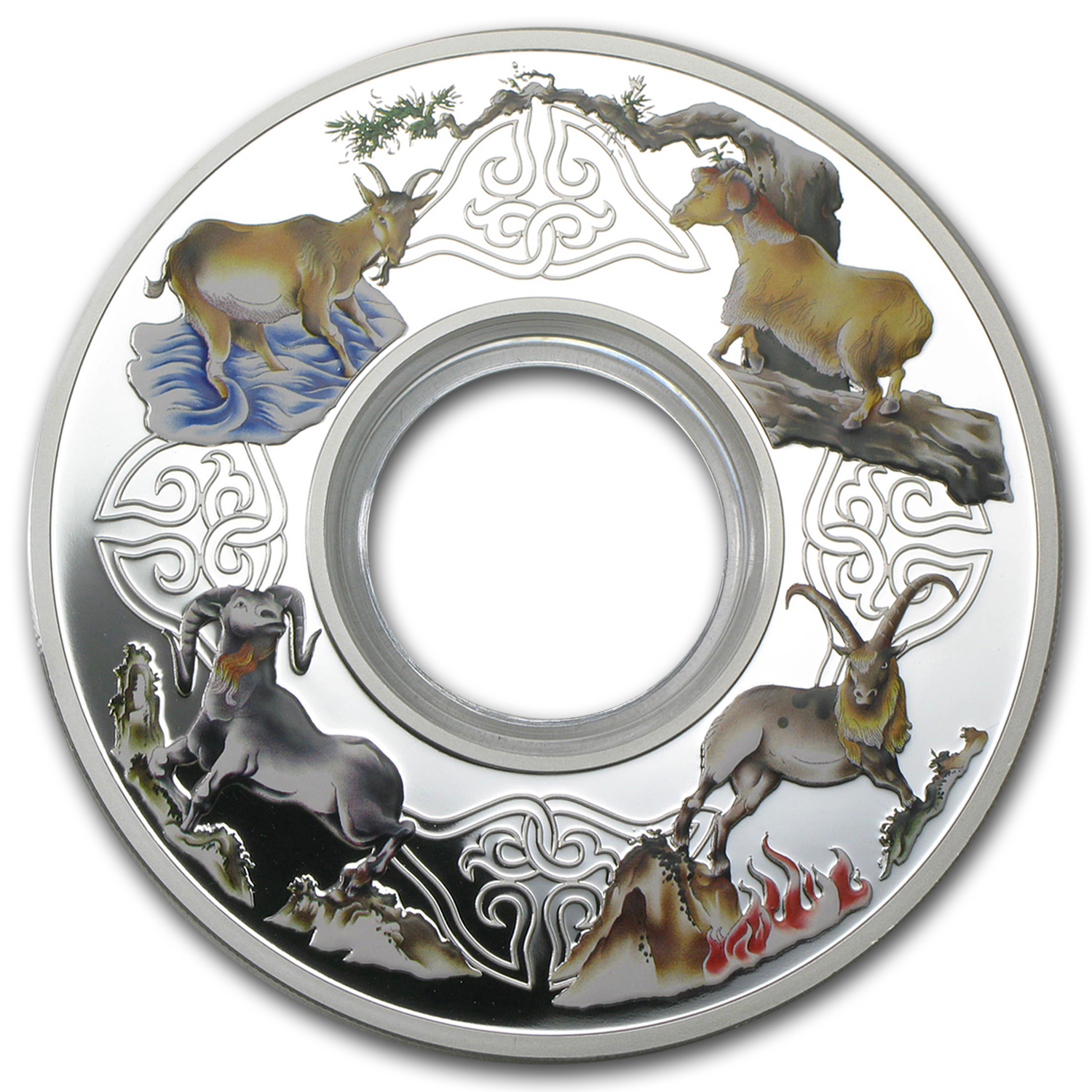 2015 Tokelau 2 oz Proof Silver $10 Elemental Goats Ring Coin