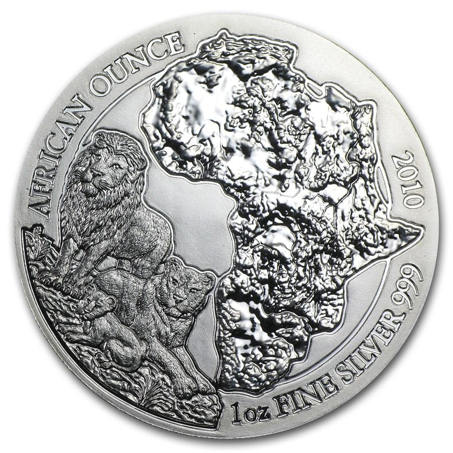 2010 Rwanda 1 Oz Silver African Lion Bu Silver Prices