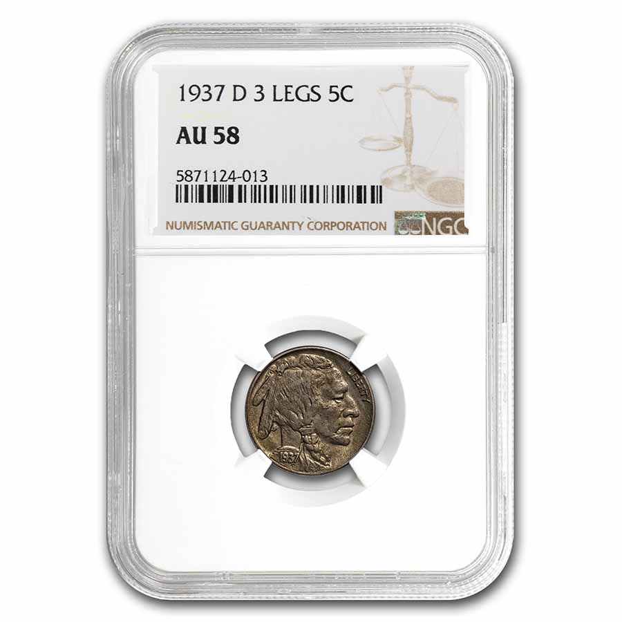 1937-D 3 Legged Buffalo Nickel AU-58 NGC