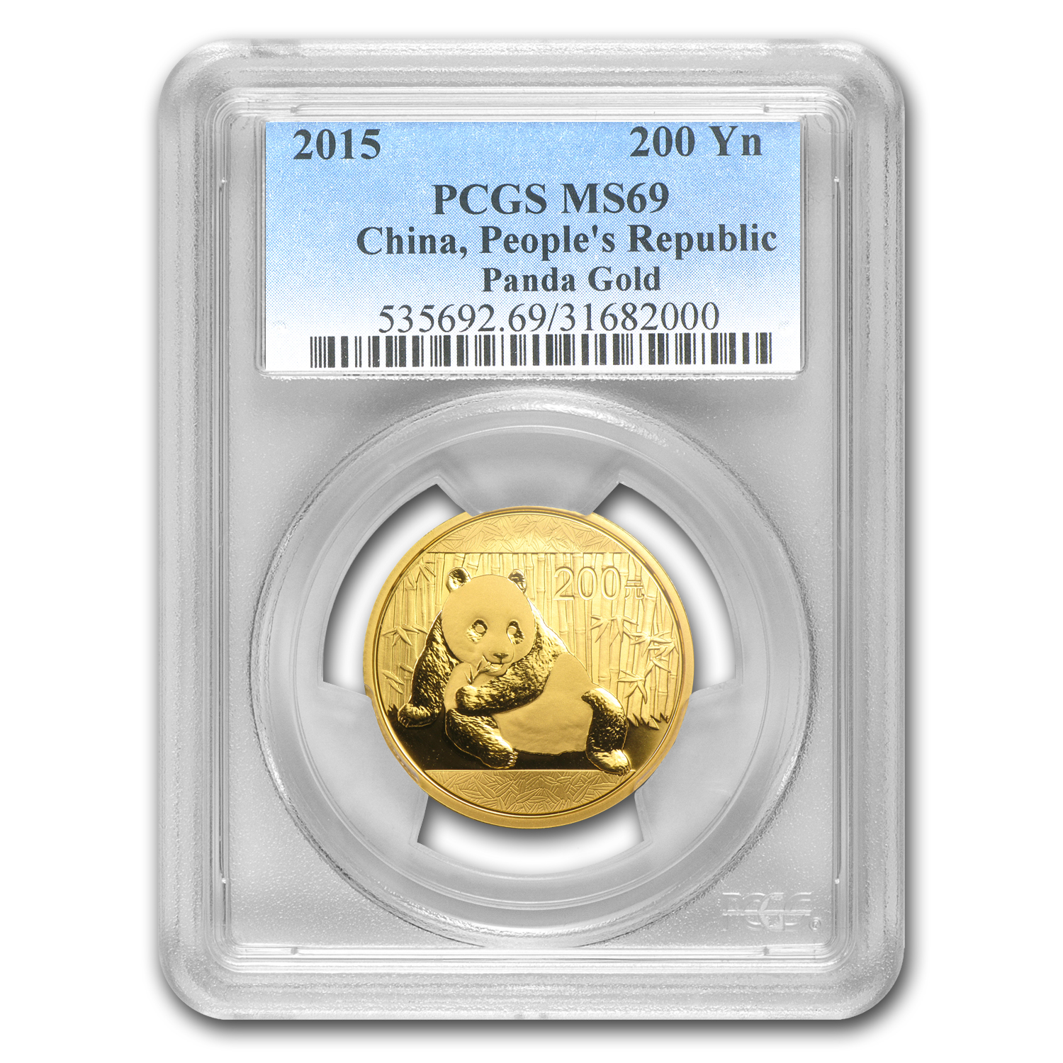 2015 China 1/2 oz Gold Panda MS-69 PCGS