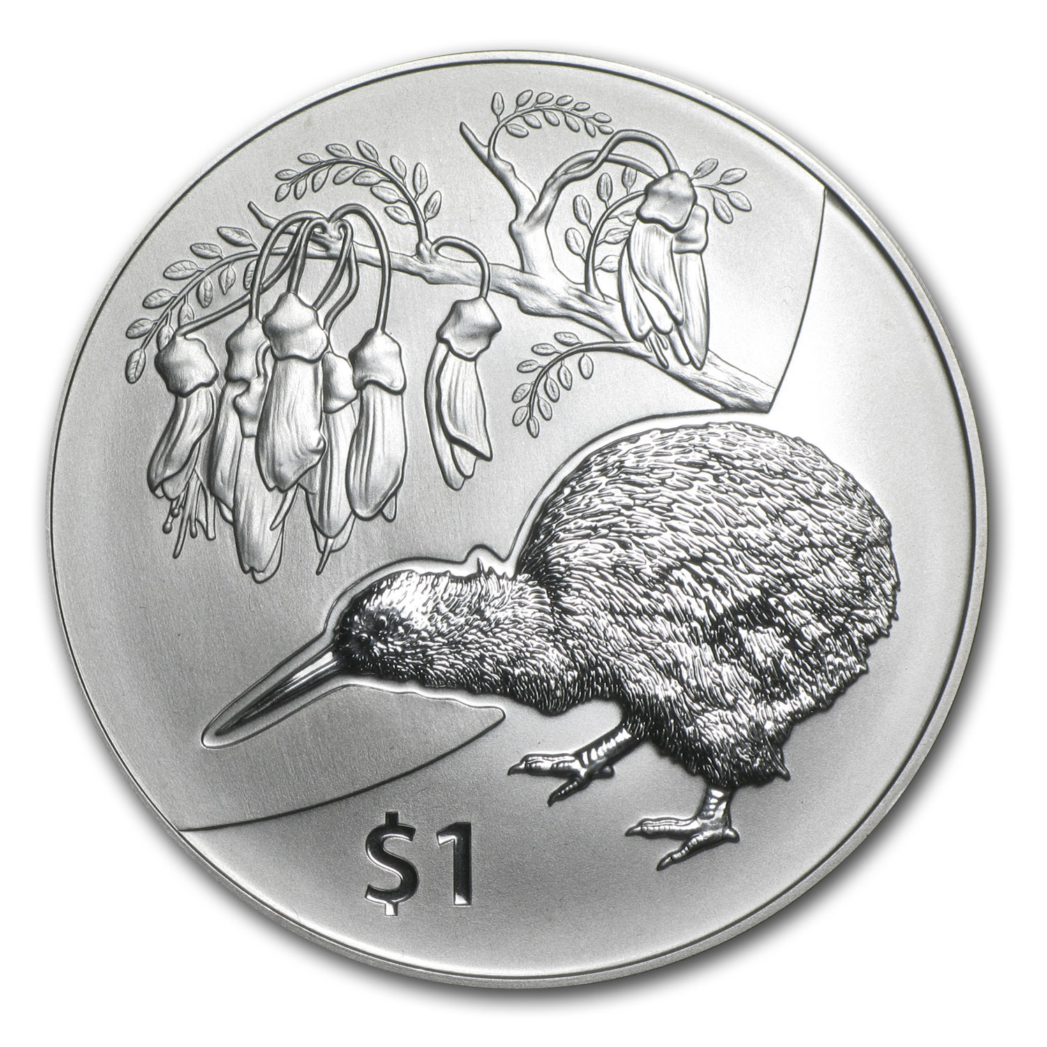 2012 New Zealand 1 oz Silver Treasures $1 Kiwi-Kowhai BU