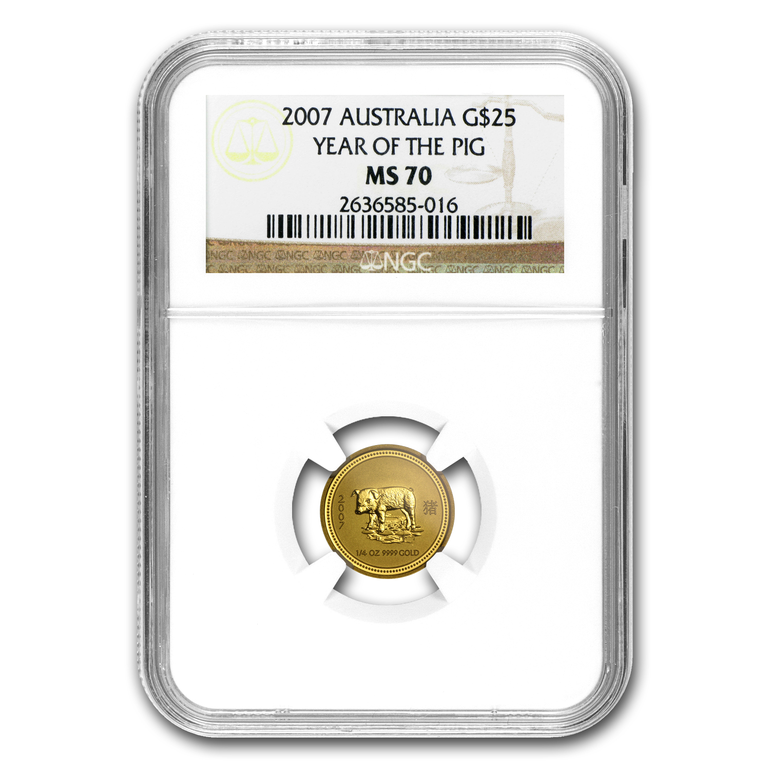 2007 1/4 oz Gold Lunar Year of the Pig MS-70 NGC (Series I)