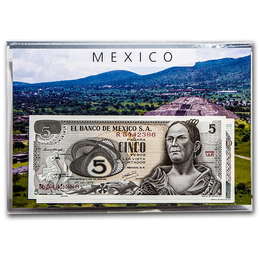 Mexico 1972 1985 5 1000 Pesos Banknote Set Unc World